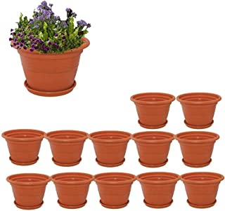 Spylark Heavy Duty Plastic Planter Pots with Bottom Tray Color Terracotta (18 Inch) (Pack of 12)