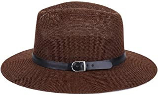 SHENLIJUAN Hat Female Summer Korean Version of The Grass Yarn Simple Neutral Men and Women Sun hat Outdoor Travel Leisure (Color : Coffee, Size : M56-58cm)