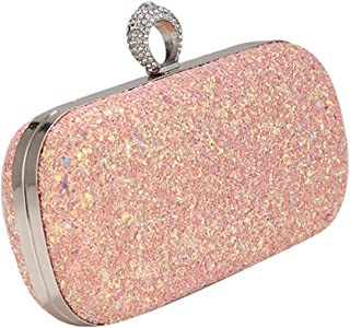 Runhuayou New Women's Even Bags/Ring Sequins Eventide Bags/Ladies Chain Portable Cosmetic Bag Banquet Bag Suitable for Females of All Ages on Any Occasions (Color : Pink)