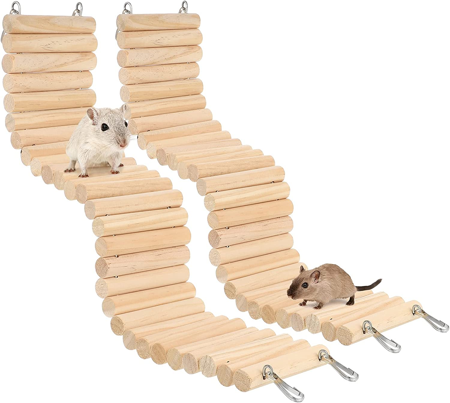 BOWINR 2 Pack Hamster Bendy Bridge Wooden Ladder Bridge for Small Animals, Natural Apple Wood Chew Toys Climbing Ladders Cage Accessories for Guinea Pig Hamster Rabbit Bunny Chinchilla Reptile