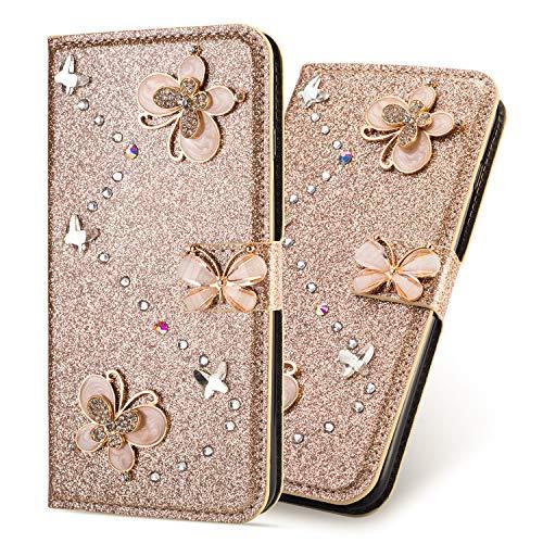 Ultra Mince Luxe Bling Glitter Sparkle Éclatant Strass Diamant Butterfly Motif Dragonne Stand Bookstyle Folio PU Cuir Flip Magnétique Cartes Slot Housse Coque pour Huawei P20