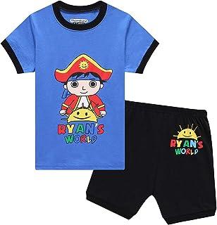 Kids Boys Long Sleeve Christmas Xmas T Shirt + Pant Blue Red 3-8 Years