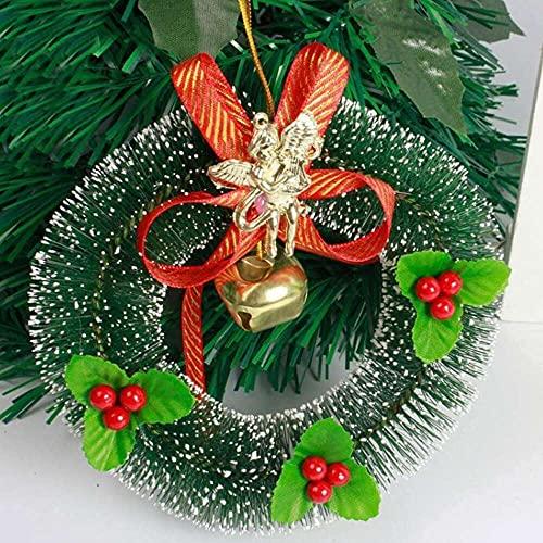 xiaoyu shop Guirnalda de coronas de Navidad con lazo, corona de árbol de pino, bayas para colgar guirnaldas de Navidad, guirnaldas, color rojo