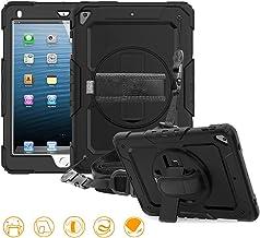 FAN SONG Funda para iPad Air 2, 3-en-1 Funda Silicona Resistente Antigolpes con Soporte y Correa de Mano y Bandolera, Portalápiz [360 Grados de Rotacion] para iPad 2018/2017 9,7 /Pro 9.7, Negro