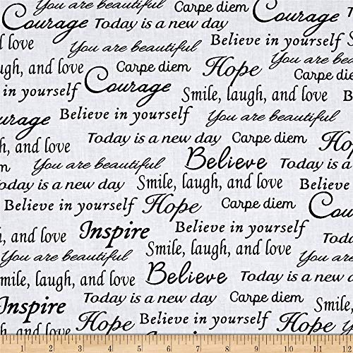 Windham Quilt Fabrics Sew Hope Full 108in Wide Hope Words Black White Quilt Fabric By The Yard, Black White