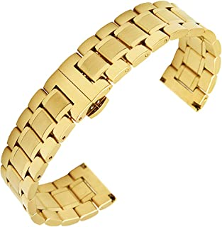 Stainless Steel Watch Band Replacement Solid Metal Watch Strap Bracelet for Men Women 14mm-26mm Full Size