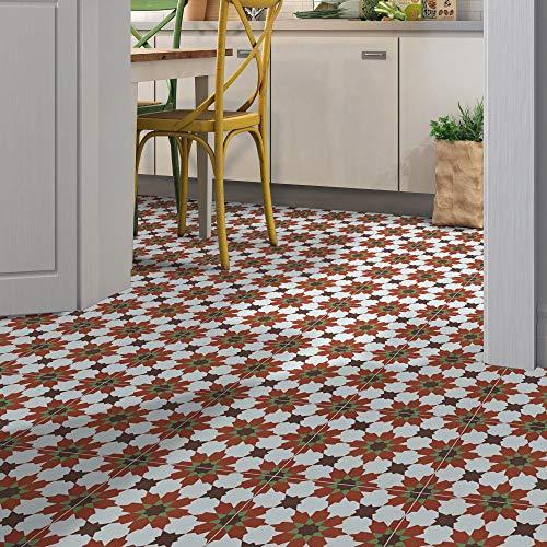 "Moroccan Mosaic & Tile House CTP04-12 Ahfir 8""x 8"" Handmade Cement Tile, 8""x8"", Red/Brown/Green/White"