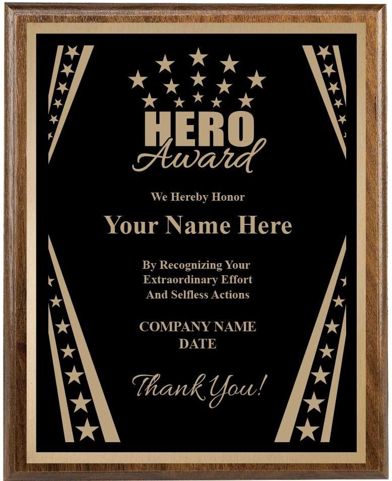 Recognition Plaque 8x10 Custom Now free shipping Engraved Award half Hero