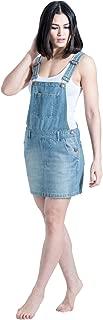 USKEES Short Denim Dungaree Dress - Aged Blue Bib-skirt
