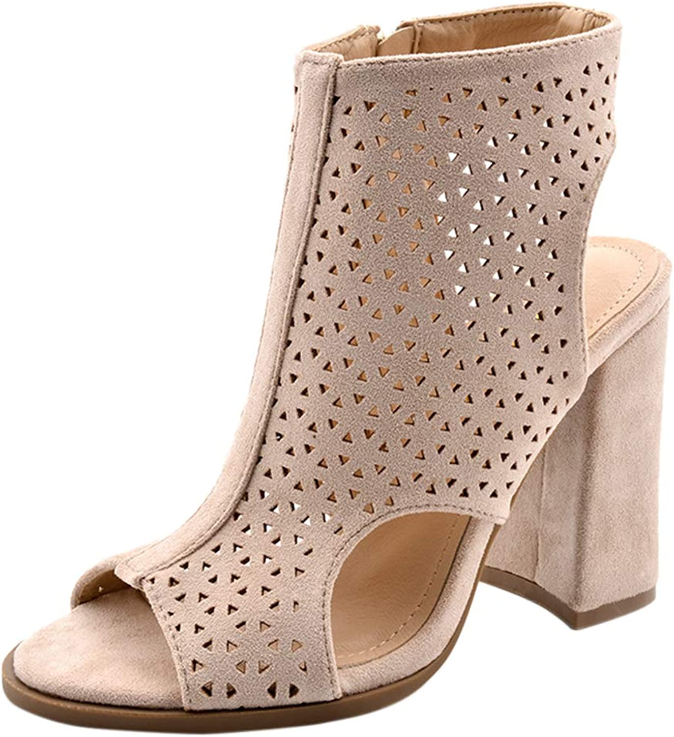 BIGTREE Womens Peep-Toe Chunky Block-Heeled Cutout Ankle-Bootie
