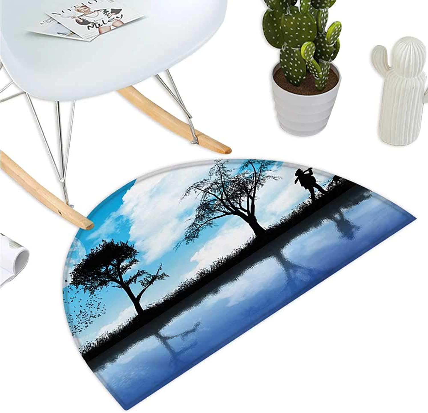 Nature Semicircle Doormat Man with The Dog Walking by The Lake with Tree Reflection Moon Sky Print Halfmoon doormats H 39.3  xD 59  Sky bluee Black White
