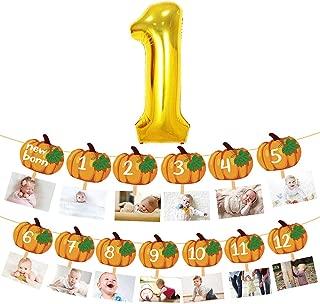 Little Pumpkin Photo Banner 12 Month Garland 1st Birthday Party Foil Balloon Decoration Autumn Theme Kids One Years Old Backdrop Supplies