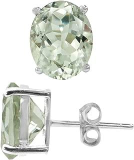4.88ct. Natural Green Amethyst 925 Sterling Silver Stud Earrings