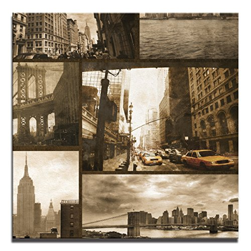 JP London Ready to Hang Made in North America Gallery Wrap Heavyweight Canvas Wall Art New York City Slice Streets Sepia 14in SQSCNV0083