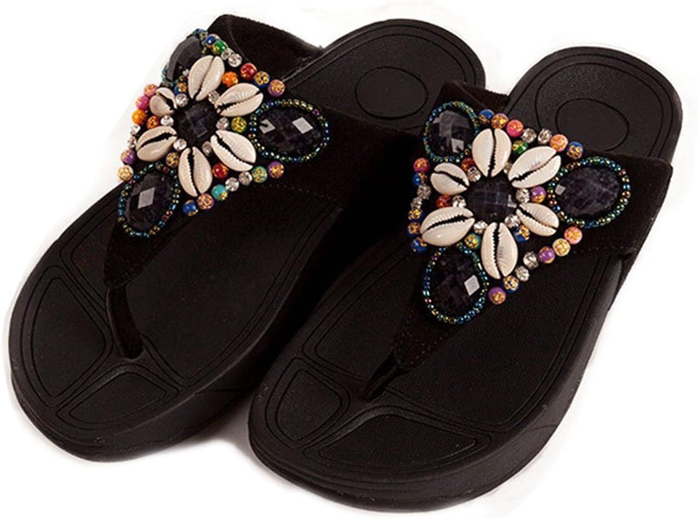 GIY Women's Summer Beach Platform Flip Flops Bohemian Bling Shell Slip-On Thong Mid Wedge Heel Sandals