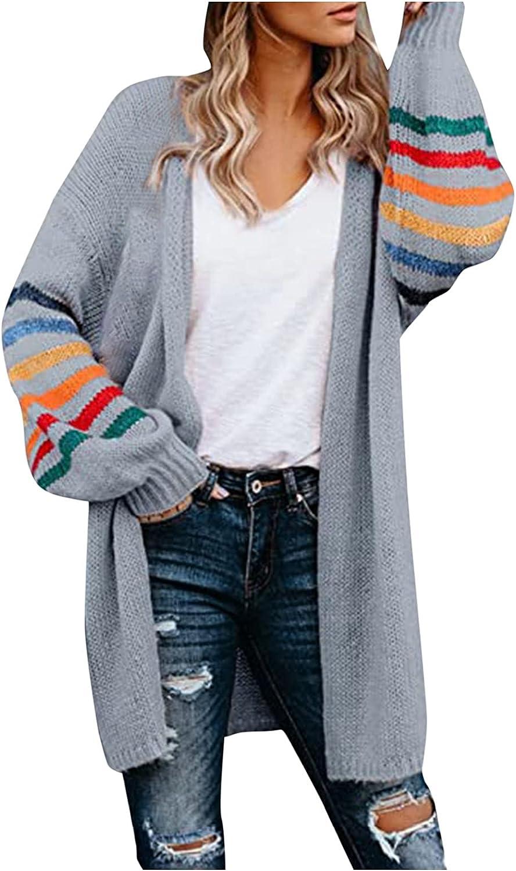 FORUU Open Front Cardigans for Women 2021 Fall Winter Lightweight Cardigan New Stripe Leisure Fashion Cardigan Sweater