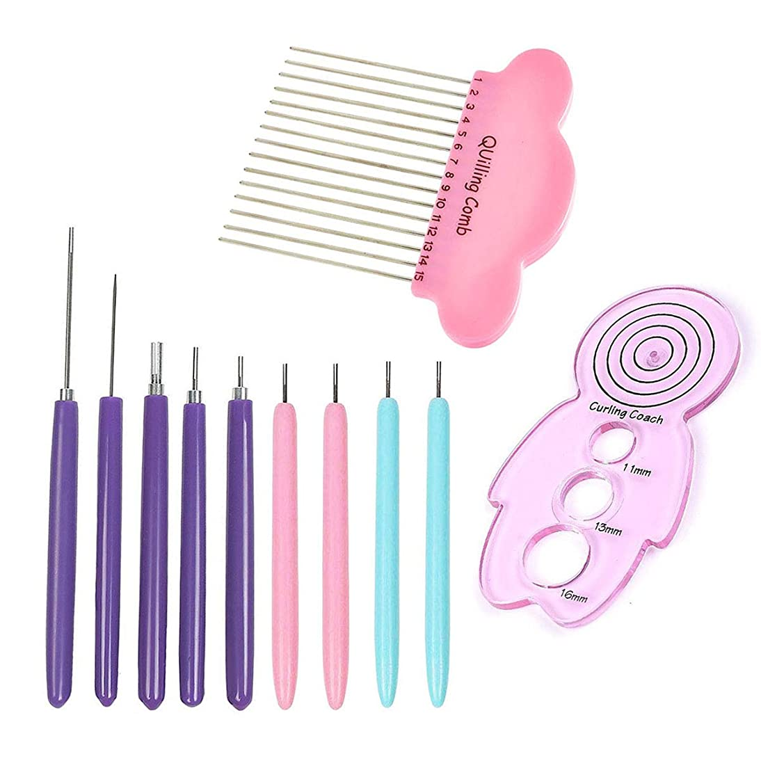 9 Pcs Paper Quilling Slotted Tools and 1Pcs Quilling Curling Coach and 1Pcs Paper Quilling Comb Tool