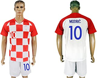2018 Men's Croatia #10 Short Sleeves Home Soccer Jersey (White/Red)