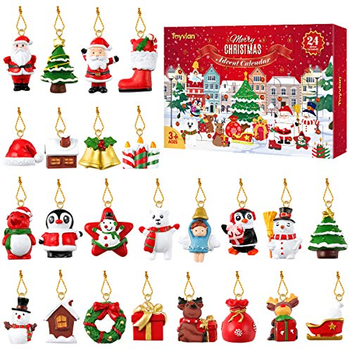 Toyvian Adventskalender 2020,24 Stück Hängende Verzierung Adventskalender, Weihnachtstiere Reliefspielzeug für Kinder Erwachsene, Weihnachtsweihnachtsdekorationen Wandweihnachtsbaum