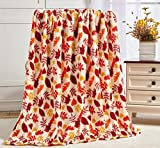 Décor&More Autumn Harvest Fallr Collection Festive and Cuddly Holiday Microplush Throw Blanket (50' x 60') -Autumn Leaves