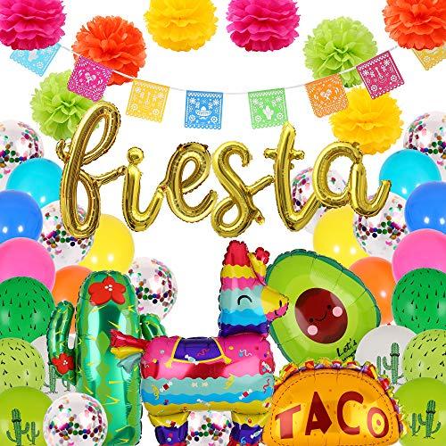 40 Pcs Fiesta Letter Banner Balloons Jumbo Mexico Taco Llama Cactus Avocado Mylar Foil Balloon Birthday Mexican Fiesta Theme Latex Balloon Party Decorations
