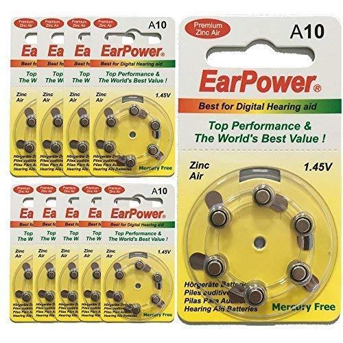 Hörgerätebatterien in der Größe 10 EarPower | Gelbe Farbe | 60 Batterien für Hörgeräte Hörhilfen Hörverstärker