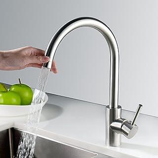 HOMELODY 2 Funciones Grifo de Cocina Caño Giratorio a 360° Cepillado Grifo para Fregadero de Cocina Diseño Clásico y Profesional Agua Fría y Caliente