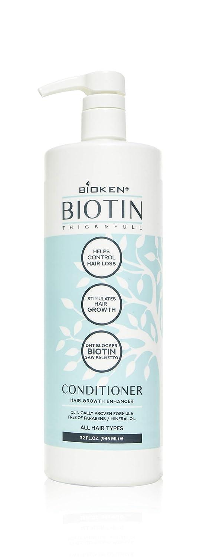 Bioken Thick & Full Hair Growth Enhancer Biotin Conditioner - All Hair Types, Helps Control Hair Loss, Stimulates Hair Growth & DHT Blocker… (10.1 oz): Beauty