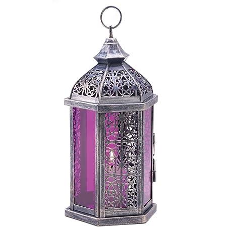 Amazon Com Antique Pewter Finish Enchanted Amethyst Candle Lantern Home Kitchen