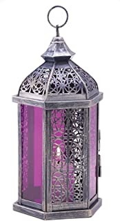 Antique Pewter Finish Enchanted Amethyst Candle Lantern
