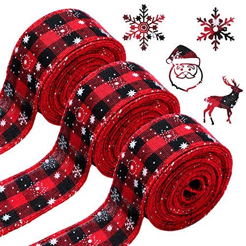 3 Rolls Christmas Snowflake Buffalo Plaid Ribbon Wired Edge Ribbon Black and Red Plaid Burlap Ribbon Christmas Check Burlap Ribbon for Christmas Wrapping Crafts Decoration (6 Yard x 1.58 Inch)