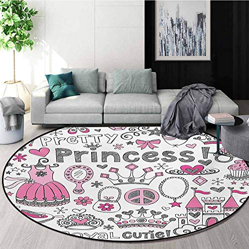 Buy Discount RUGSMAT Princess Print Area Rug,Fairy Tale Princess Tiara Crown Notebook Doodle Design ...
