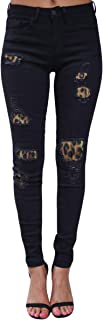 Pantalones vaqueros largos elásticos para mujer, diseño de leopardo, color negro, talla 2XL