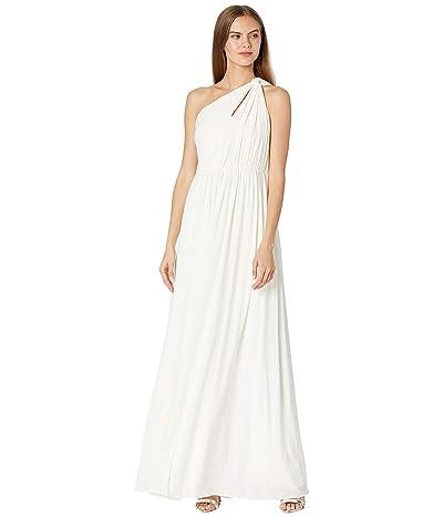 Halston Michaela One Shoulder Shirred Gown