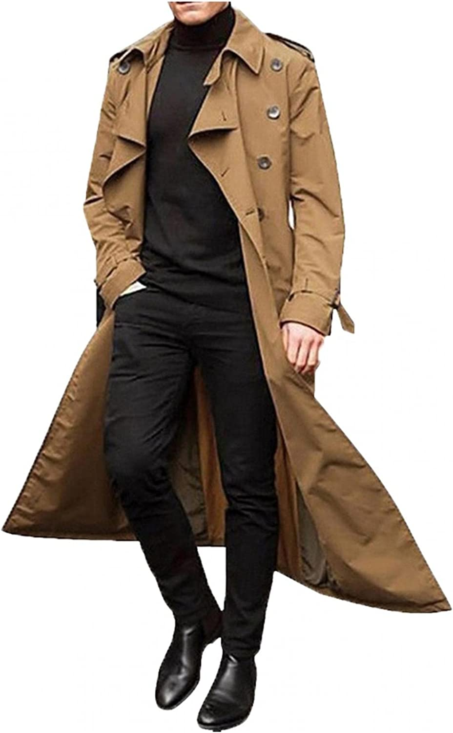 Huangse Men's Slim Fit Trenchcoat Lapel Double Breasted Belted Windbreaker Long Jacket Windproof Tunic Button Trench Coat