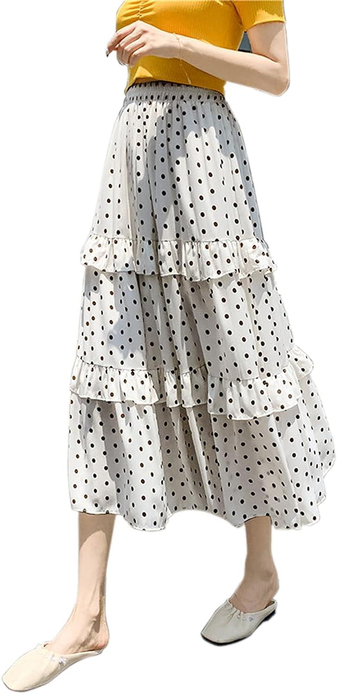 Beautisun Women High Waist Polka Dot Print Tiered Skirt Boho A-line Layered Skirt Summer Casual Maxi Skirt