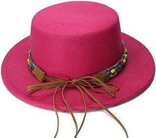 ヴィンテージウールワイドブリムキャップポークパイポークパイ山高帽国家風ビーズレザーバンド用Chlidファッション帽子 帽子 (色 : ローズレッド, サイズ : 54cm)
