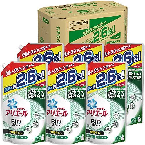 【ケース販売】アリエール バイオサイエンス 部屋干し 洗濯洗剤 液体 抗菌&菌のエサまで除去 詰め替え 約2.6倍(1800g)×6袋