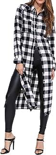 Style Dome Camicia Donna Quadri Bluse Manica Lunga Casual Elegante Maglieria Moda Collo V Maglietta Autunno Shirt Top