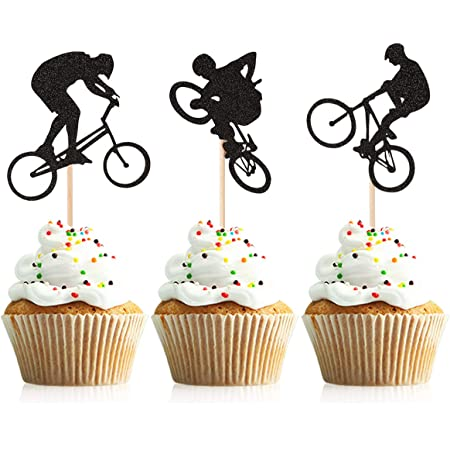 Motocross Riders Anniversaire Cupcake /& Parti alimentaires Toppers Décorations Picks Pack de 14