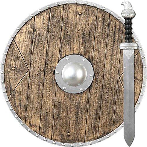 Amakando Armas de Juguete Guerrero | Vikingo Escudo y Espada | Accesorios Caballero Medieval | Escudo Redondo y Espada