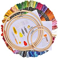 AFDEAL Borduurset, kruissteek starterkit, borduurwerk, kruissteek gereedschapset, inclusief 100 gekleurde draden, 5...