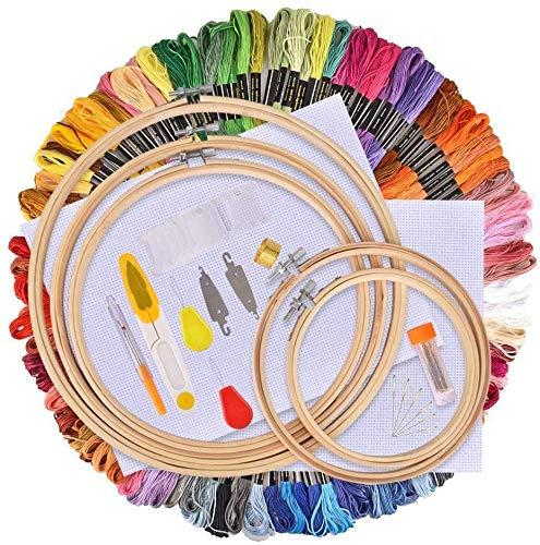AFDEAL Kit de Inicio de Bordado,Kit de Herramienta de Punto de Cruz,5 Piezas Aros de Bambú, 100 Hilos de Color, 12 Por 18 Pulgadas Set de 14 Agujas y Reserva Clásica Aida y Agujas
