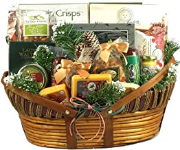 Home For The Holidays, Christmas Gift Basket With Unique Wisconsin Meats And Cheeses, Mixed Nuts, Sweets And More (XL), 16 Pounds