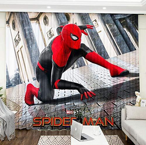 llkjd Verdunkelungsstoff Vorhang Hintergrundstoff Polyester Cartoon Cartoon Spiderman Marvel Animation @ W66 * L72