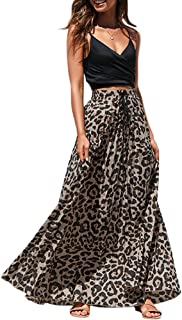 Womens Leopard Print Long Skirts Drawstring High Waisted Bohemian Maxi Skirt