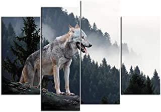 sechars - Animal Wall Art Timber Wolf Hunting in Mountain Picture Canvas Prints 4 Piece Wolf Artwork Stretched and Framed for Modern Home Ofice Living Room Decoration