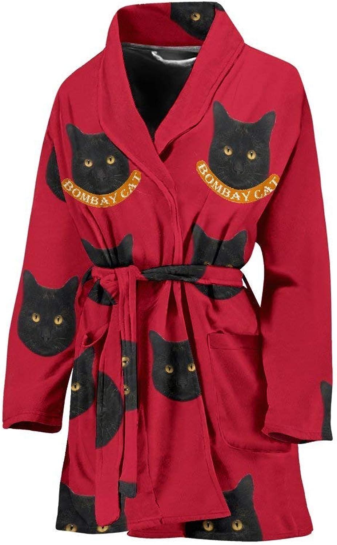Deruj Bombay cat Print Women's Bath Robe