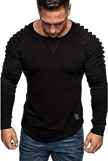 Kenmeko Felpa Top Camicetta Uomo Splicing Wrinkle Pullover manica lunga colore puro