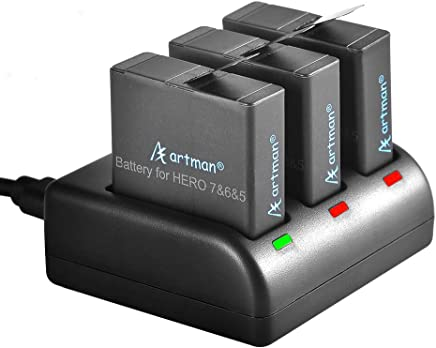 $26 Get Artman GoPro Hero 5/6/7 1480mah Replacement Batteries (3 Pack) and 3-Channel LED USB Charger for GoPro Hero 5 Black, AHDBT-501, Hero(2018),Hero 6,Hero 7 Black(Fully Compatible with Original)